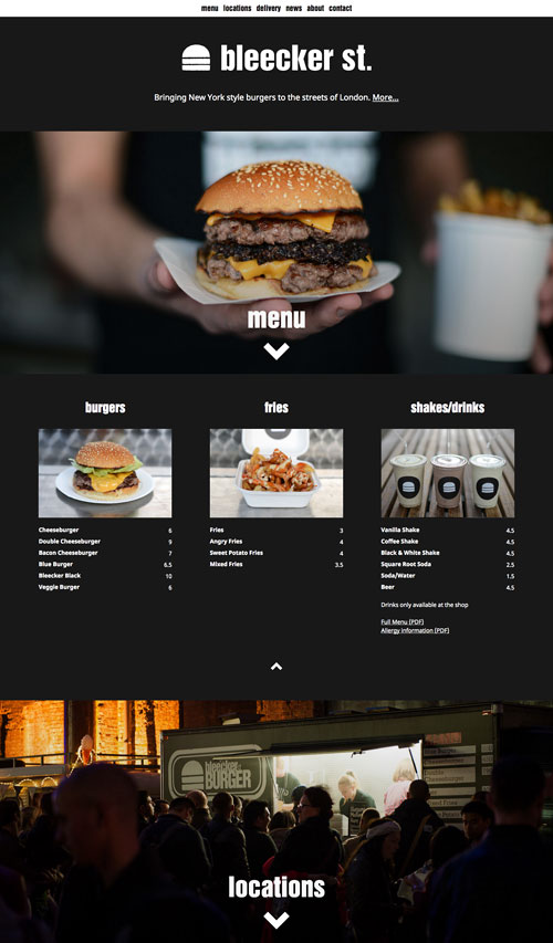 Bleecker St. Burger website